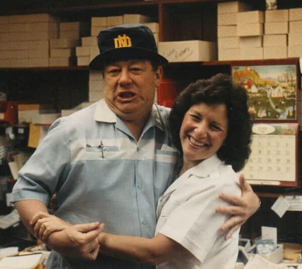 Linda & Ken in their home office in Westbury 1975