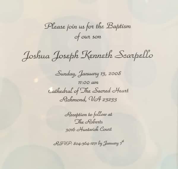 Invite to Josh's Baptism