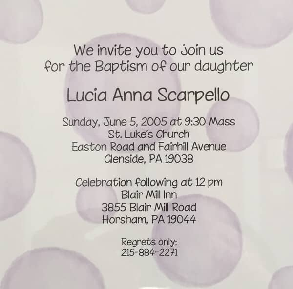 Invite to Lucy's Baptism